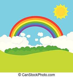 arc-en-ciel, vecteur, sun., paysage, illustration