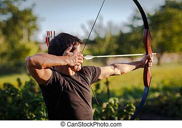 arc, formation, jeune, archer