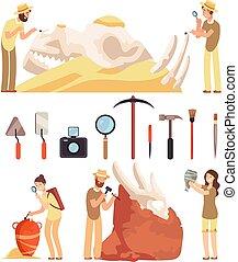 archéologie, artifacts., work., vecteur, archéologue, tools., historique, découvrir, travaux, ensemble, archaeologic, caractères, paleontologist