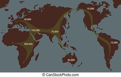 archaïque, travers, afrique, continents, expansions, tôt, humains, migrations, humain
