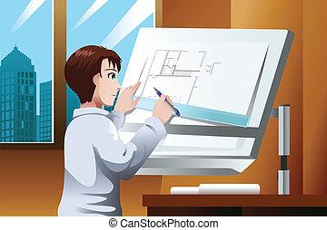architecte, bureau fonctionnant