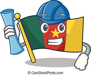 architecte, camerounais, caractère, sourire, drapeau, dessin animé