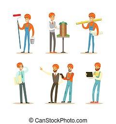 architecte, caractères, ensemble, construction, constructeurs, ouvriers, illustration, outils, dessin animé, vecteur, contremaître, professionnel