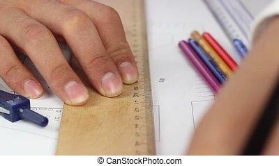 architecte, dessin, projet, fonctionnement
