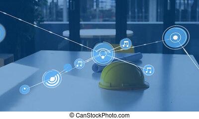 architectes, animation, connexions, réseau, sur, chapeau, dur, plans