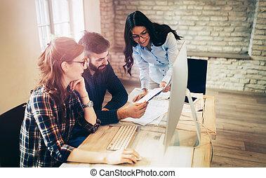 architectes, bureau, ensemble, image, fonctionnement