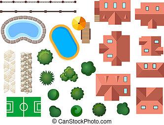 architectural, paysage, jardin, éléments