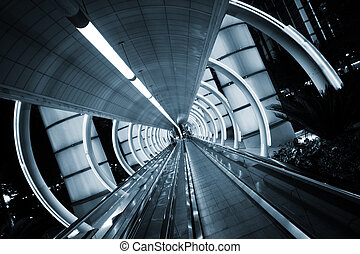 architecture., sidewalk., en mouvement, tunnel, futuriste