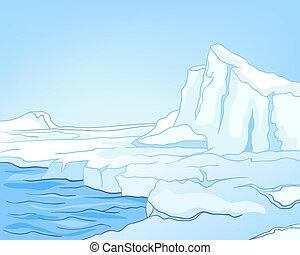 arctique, dessin animé, paysage, nature
