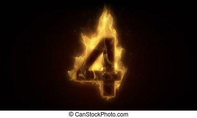 ardent, boucle, nombre, brûlé, quatre, w