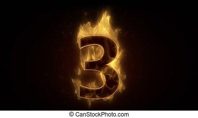 ardent, boucle, nombre, brûlé, trois