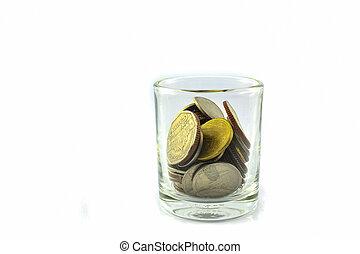 argent économie, pièces, /, verre, thaïlande
