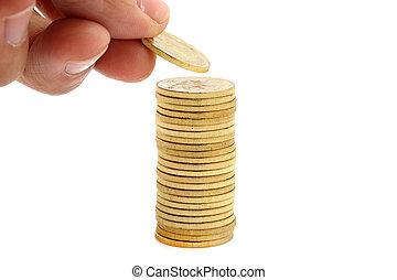 argent, économie, pile