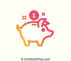 argent économie, signe., vecteur, porcin, icon., banque