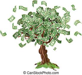 argent, économies, arbre