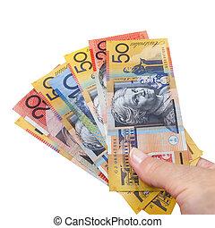 argent, australien, poignée, isolé