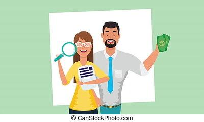 argent, business, verre, couple, magnifier