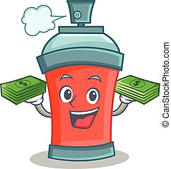 argent, caractère, pulvérisation, boîte aérosol, dessin animé