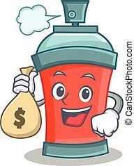 argent, caractère, sac, pulvérisation, boîte aérosol, dessin animé