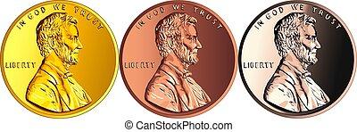 argent, cent, monnaie, or, américain, une, vecteur, penny