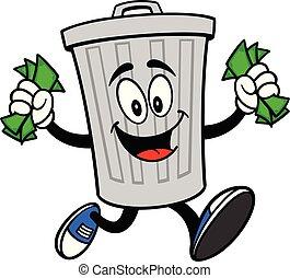 argent, courant, poubelle, mascotte