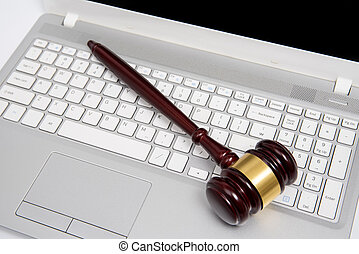 argent, cyber, droit & loi, ou, concept., ligne, juge, gavel bois, ordinateur portable, enchère, informatique