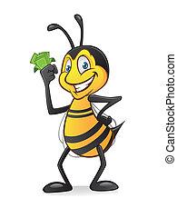 argent, dessin animé, abeille