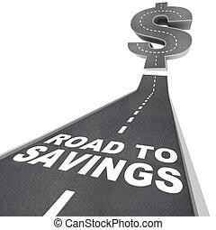 argent, dollar, signe vente, escomptes, économies, sauver, trouver, route