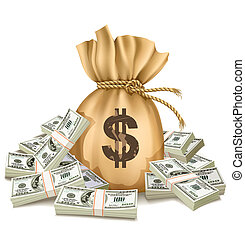 argent, dollars, sac, paquets