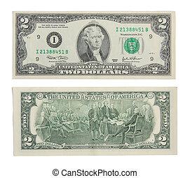 argent, dollars, usd, deux