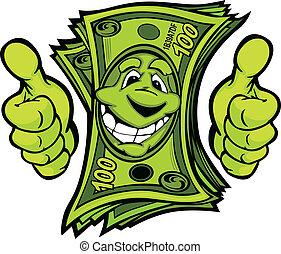 argent donnant, haut, illustr, vecteur, pouces, mains, dessin animé, geste