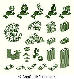 argent, ensemble, main, icônes