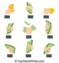 argent, ensemble, mains