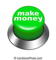 argent, faire, bouton, illustration, 3d