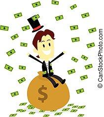argent, faire, il, pluie, riche, homme