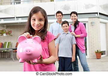 argent, girl, économie, dos, famille