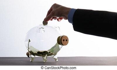 argent, hoards, pièces, économie, banque, verre, homme affaires, quelques-uns, -, porcin, espèces, jets