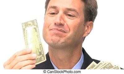 argent, homme affaires, heureux, baisers, sien, regarder