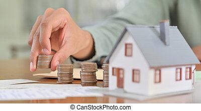 argent, house., achat, économie, concept