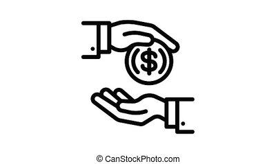 argent, icône, monnaie, animation, corruption