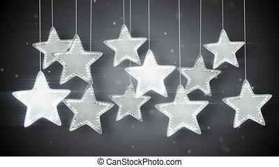 argent, lumières, étoiles, pendre, noël, boucle