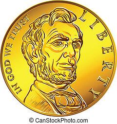 argent, monnaie, or, dollar, américain, une, vecteur