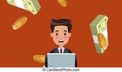 argent, ordinateur portable, animation, confection, homme affaires, hd