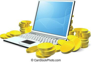 argent, ordinateur portable, concept