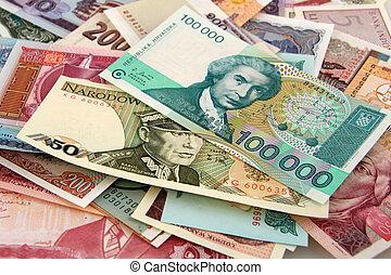 argent, papier, étranger