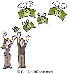 argent perdant, couple