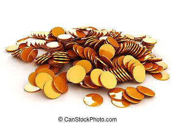 argent, pièces, or, render, 3d