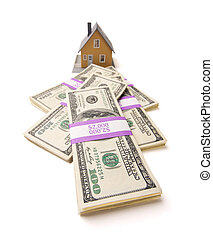 argent, piles, isolé, maison