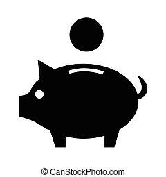 argent, porcin, icône, vecteur, banque