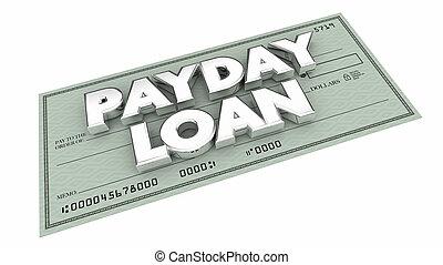 argent, prêt, emprunter, illustration, tôt, jour paie, mots, chèque, 3d